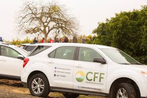A CFF car parked in an orchard, showing the logo and links to our website and social media