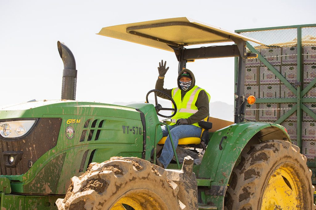 A farmworker driving a tractor on Mother's Day